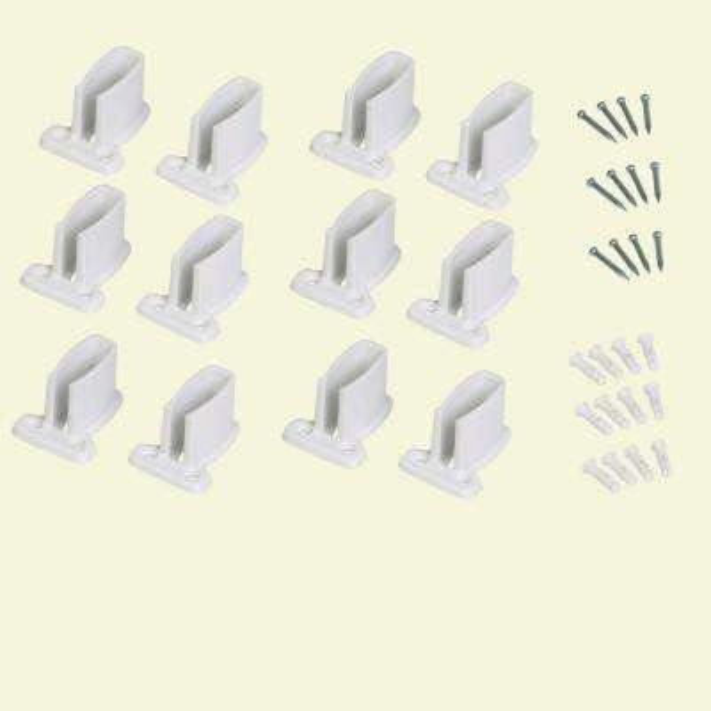 9 in white resin Heavy Duty Shelf Bracket for Wire Shelving (12-Pack)
