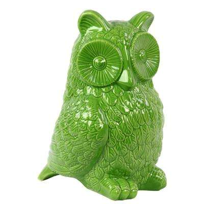 10.5 in. H Owl Decorative Figurine in Green Gloss Finish
