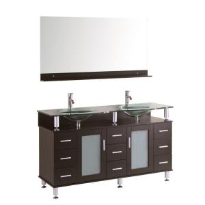 Kokols Cerviel 72 inch Double Vanity in Espresso with Glass Vanity Top in Clear and Mirror by Kokols