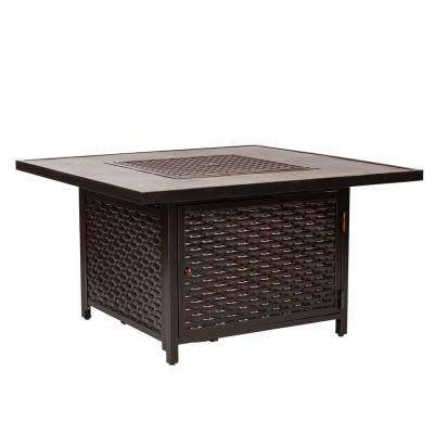 Baker 42 in. x 24 in. Square Aluminum LPG Fire Pit Table in Antique Bronze