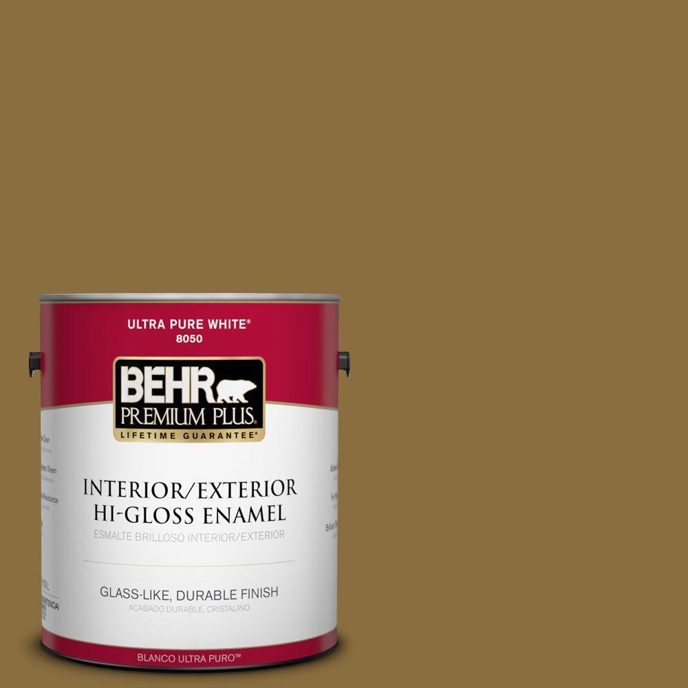 BEHR Premium Plus 1-gal. #S310-7 Siam Gold Hi-Gloss Enamel Interior/Exterior Paint
