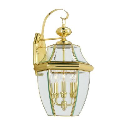 3-Light Bright Brass Outdoor Wall Lantern Sconce with Clear Beveled Glass