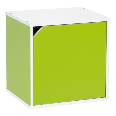 BAKU Modular Green Wood Cube Box with Door