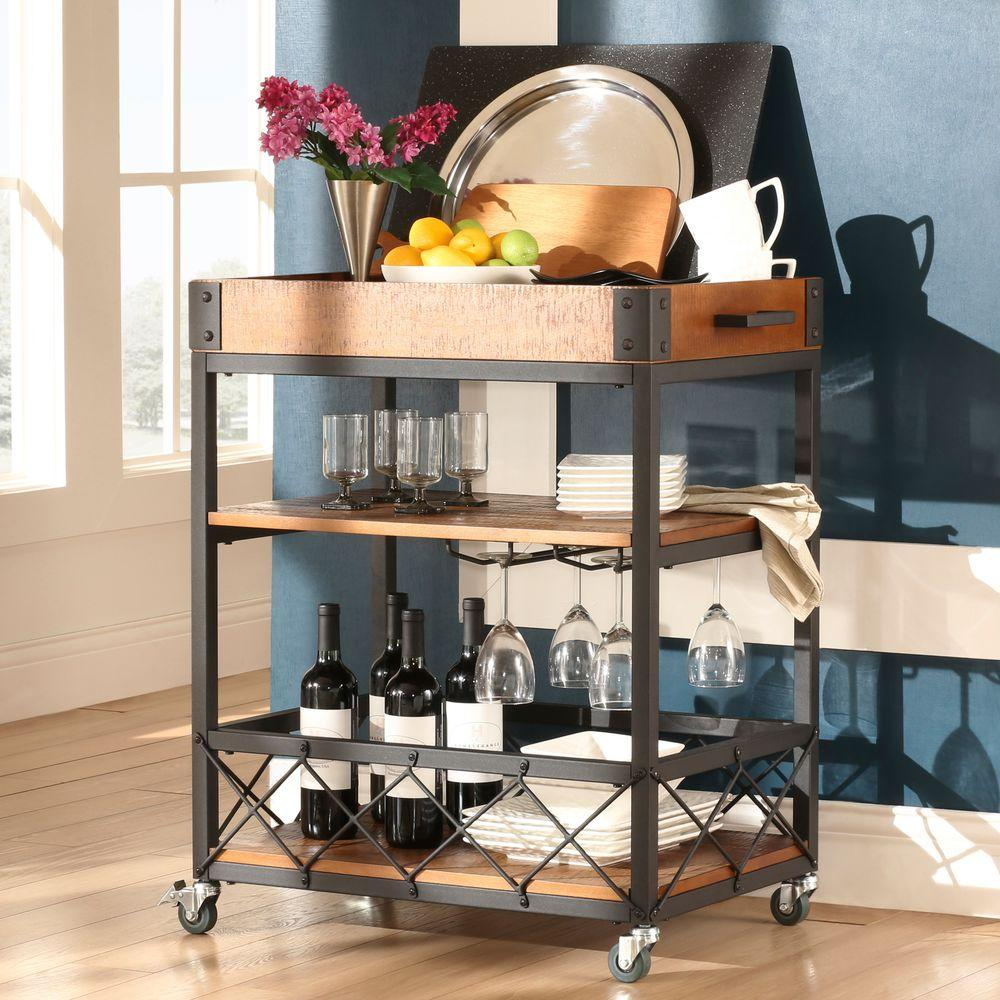 homesullivan grove place rustic pine bar cart with wine. Black Bedroom Furniture Sets. Home Design Ideas
