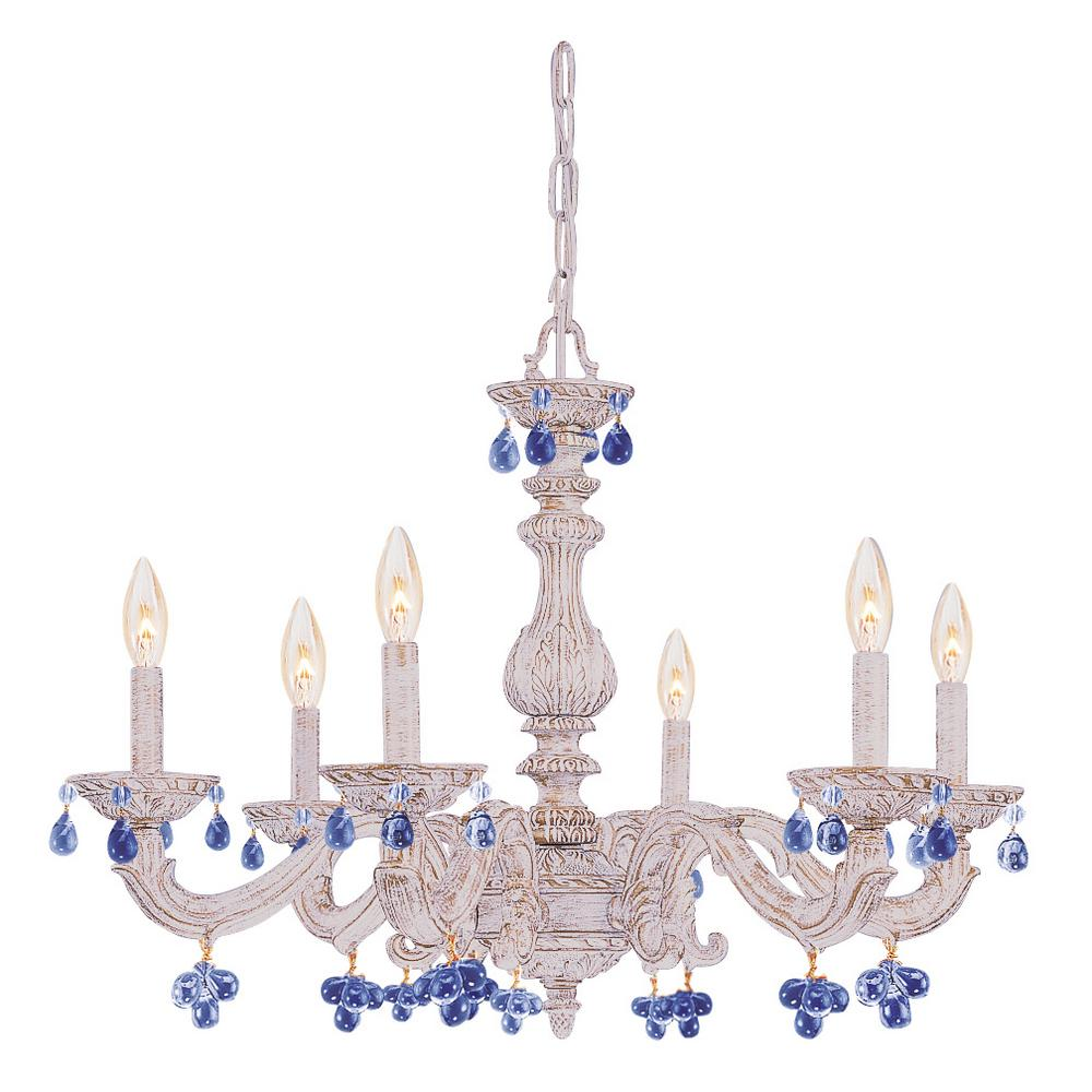 6 Light Antique White Chandelier