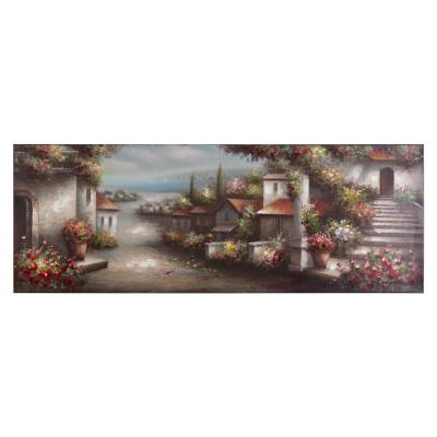 "21.5 in. x 61 in. ""European Village I"" Hand Painted Contemporary Artwork"