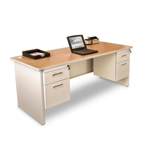 72 in. W x 30 in. D Oak Laminate and Putty  Double Pedestal Desk