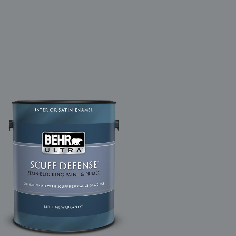 Behr Ultra 1 Gal N500 5 Magnetic Gray Color Extra Durable Satin Enamel Interior Paint Primer 775401 The Home Depot