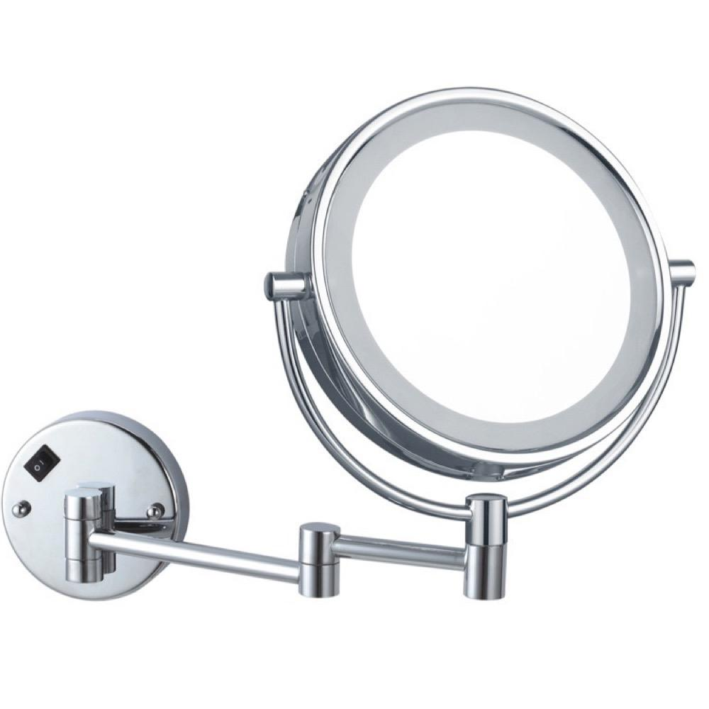 Nameeks Glimmer 8 in. x 8 in. Wall Mounted LED 5x Round Makeup Mirror in Chrome Finish