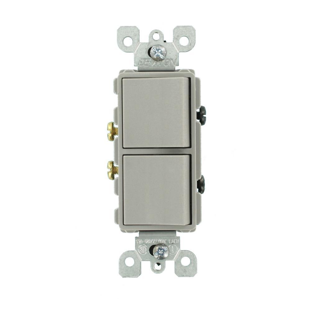 Leviton 15 Amp Decora Commercial Grade Combination Two Single Pole Rocker Switches, Gray