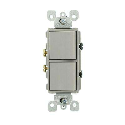 15 Amp Decora Commercial Grade Combination Two Single Pole Rocker Switches, Gray