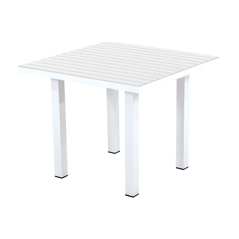 POLYWOOD Euro Satin White/White 36 in. Square Patio Dining Table