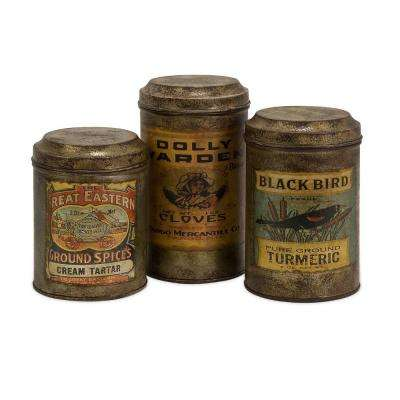Lenor 8 in. Galvanized Vintage Label Canister (Set of 3)