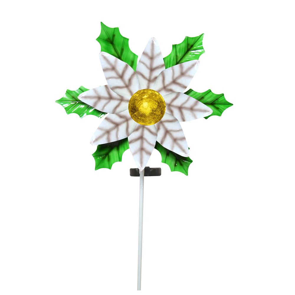 Alpine Corporation Solar White Christmas Poinsettia Garden Stake