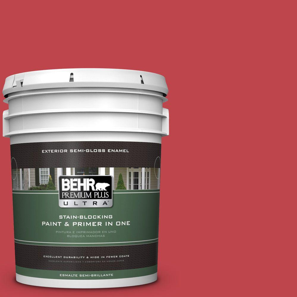BEHR Premium Plus Ultra Home Decorators Collection 5-gal. #HDC-FL13-1 Glowing Scarlet Semi-Gloss Enamel Exterior Paint