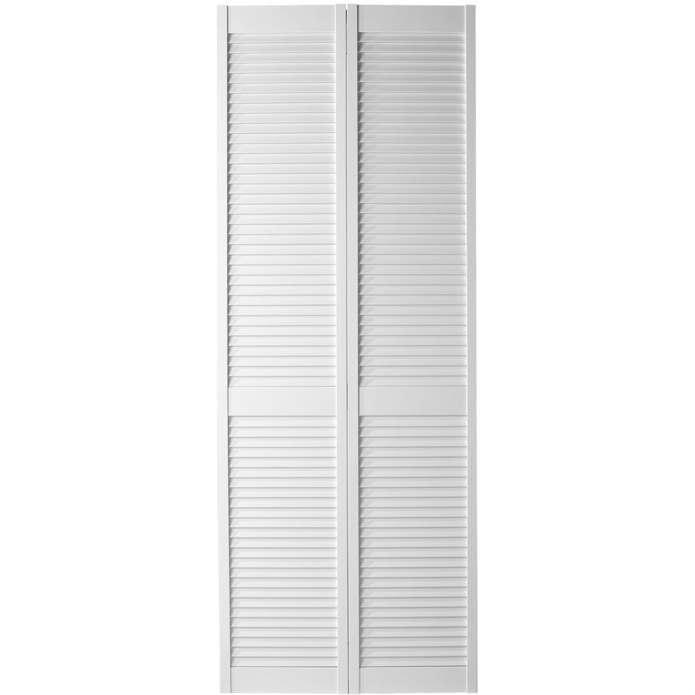 Masonite 30 In X 80 In Full Louvered Primed White Hollow Core Pine Bi Fold Interior Door