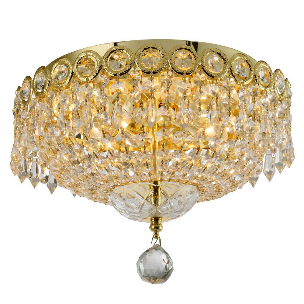 Worldwide Lighting Empire 12 in. 2-Light Polished Gold Crystal Flush Mount