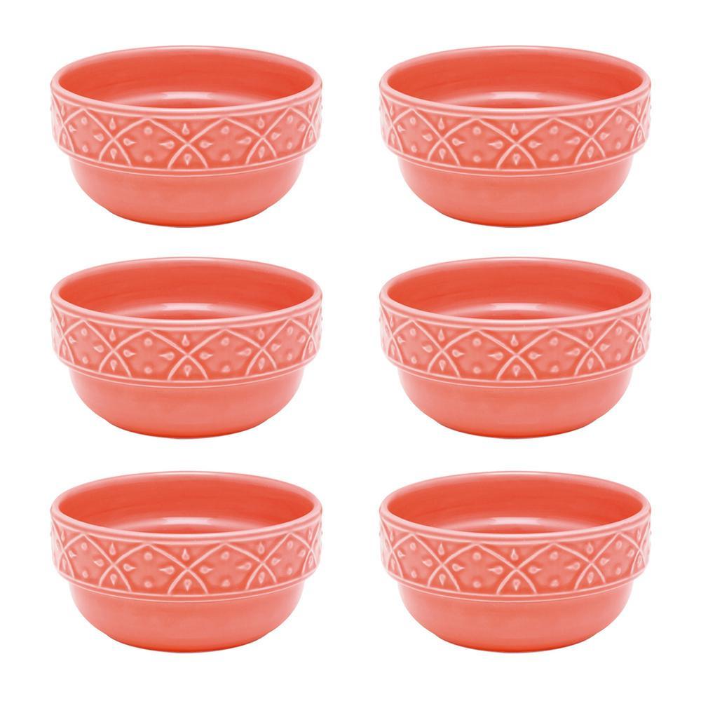 Manhattan Comfort Mendi 16.91 oz. Coral Earthenware Soup Bowls (Set of 6), Pink was $89.99 now $51.19 (43.0% off)