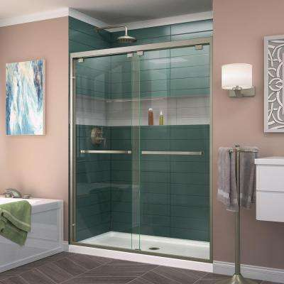 Encore 44 in. to 48 in. x 76 in. Framed Bypass Shower Door in Brushed Nickel