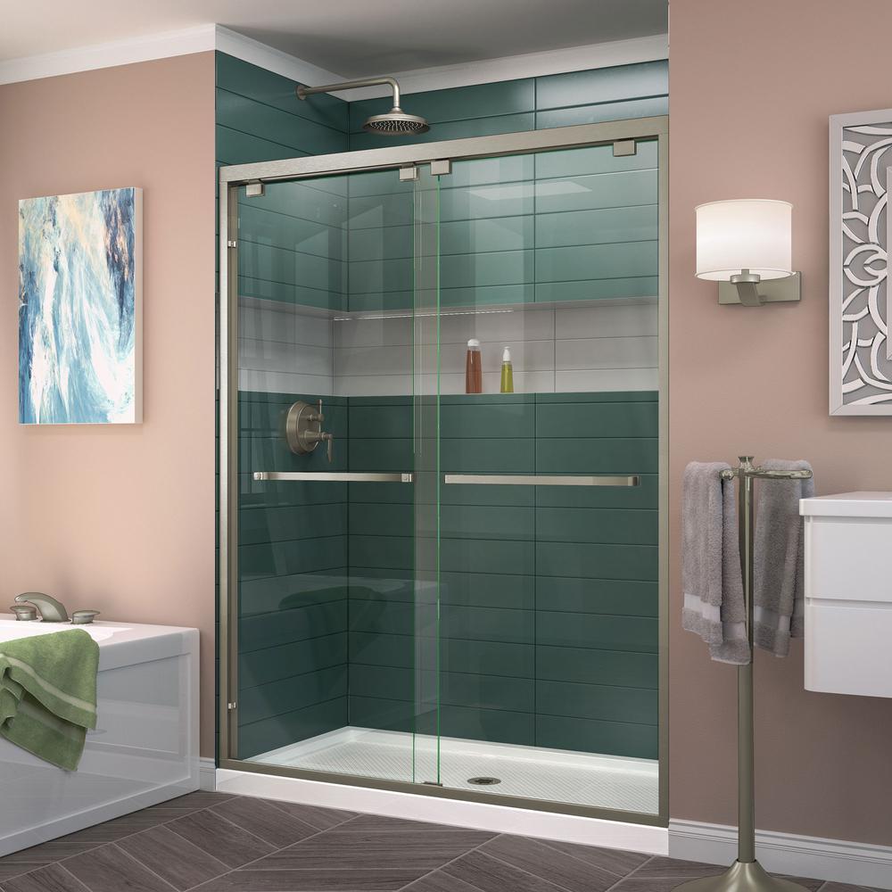 Encore 56 in. to 60 in. x 76 in. Framed Bypass Shower Door in Brushed Nickel