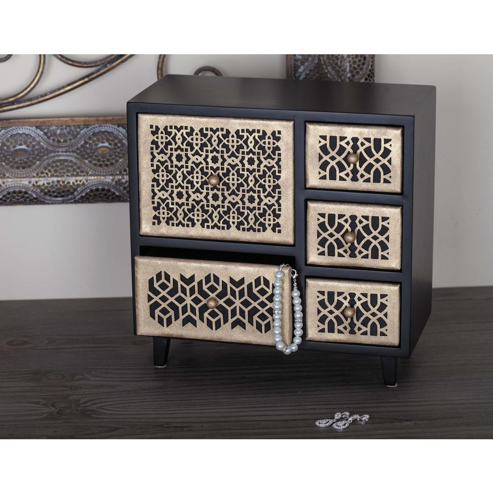 10 in x 10 in 5Drawer Wooden Patterned Jewelry Box82184 The