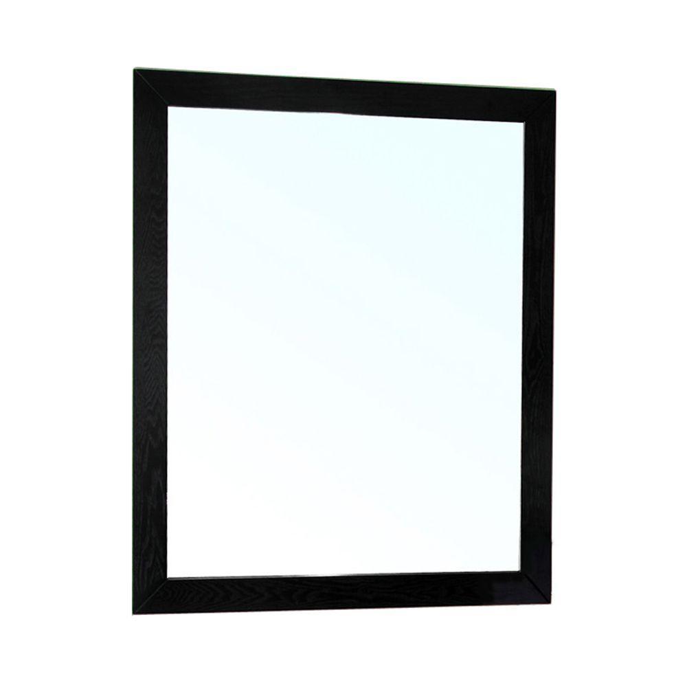 Lovington 32 in. L x 26 in. W Solid Wood Frame Wall Mirror in Black