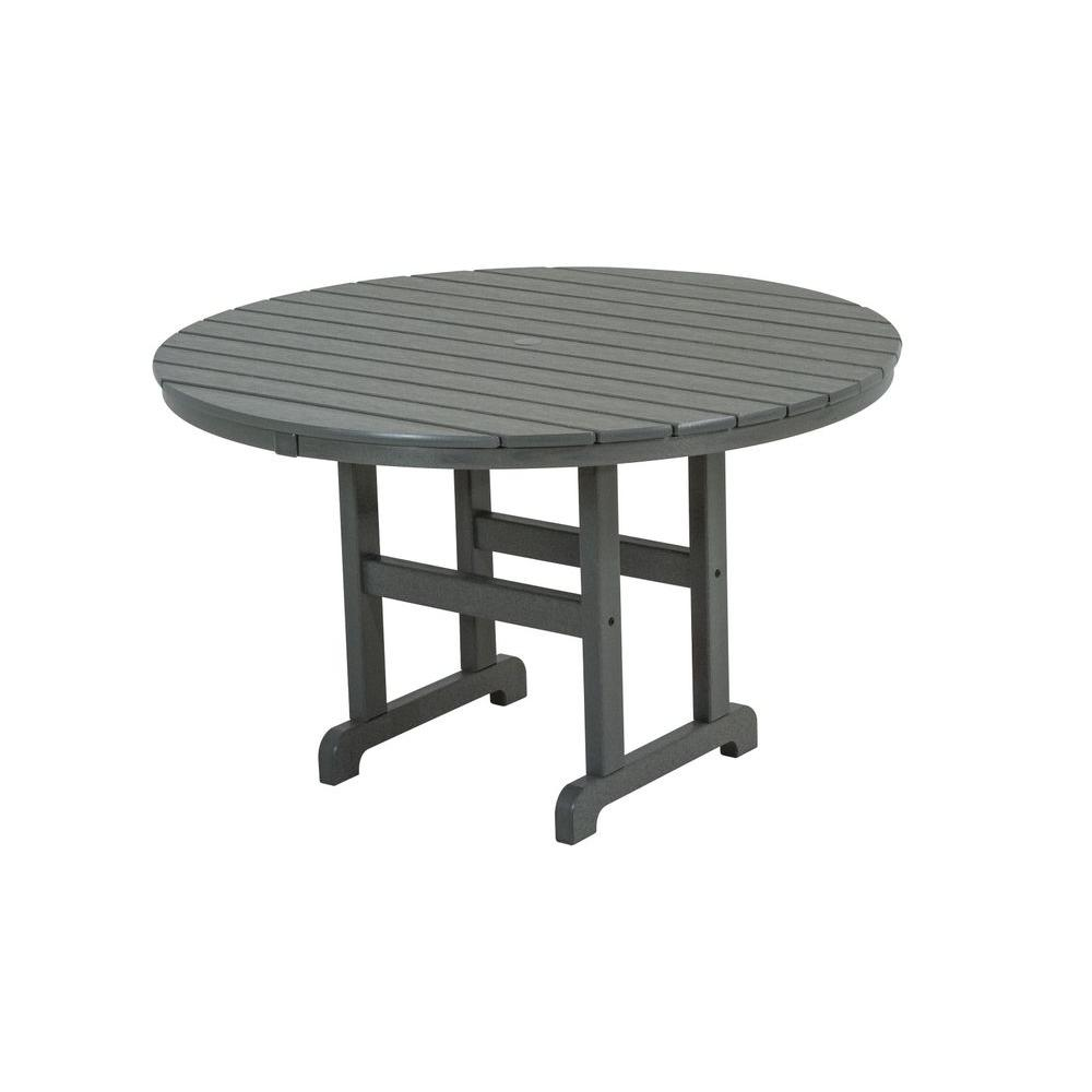 POLYWOOD La Casa Cafe 48 In. Slate Grey Round Patio Dining Table