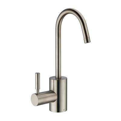 Single Handle Instant Hot Water Dispenser with Contemporary Spout and Self Closing Handle in Brushed Nickel