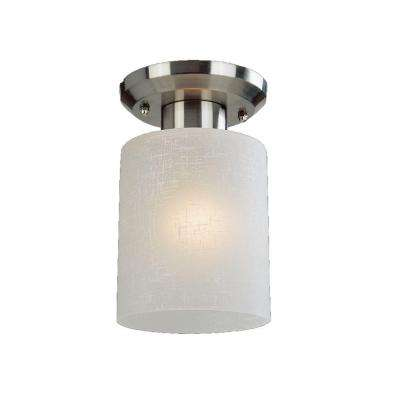 Kati 1-Light Brushed Nickel Steel Trasitional Sleek Flush Mount with White Linen Glass Shade