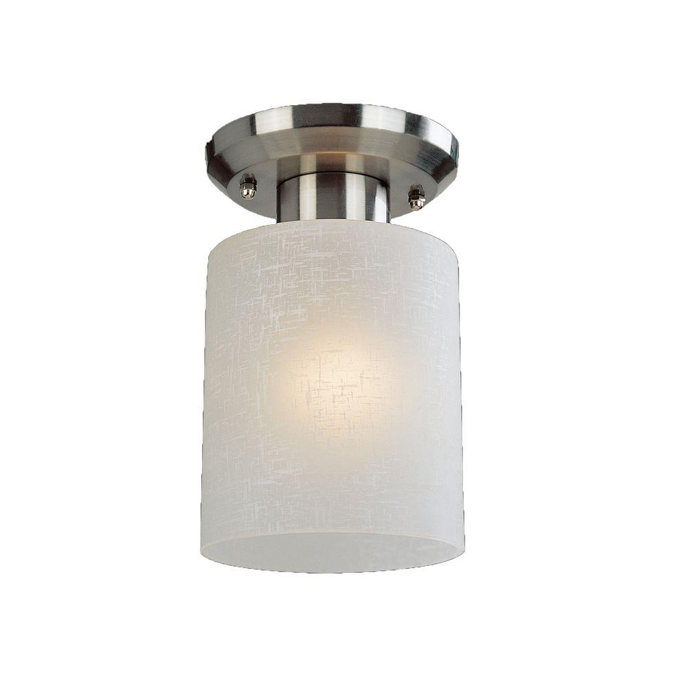 Kati 1-Light Brushed Nickel Flushmount with White Linen Glass