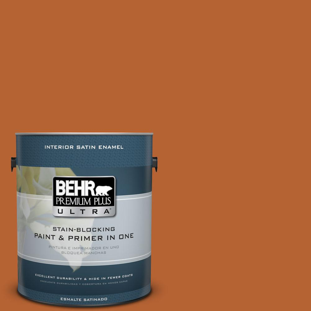 BEHR Premium Plus Ultra 1-gal. #250D-7 Caramelized Orange Satin Enamel Interior Paint