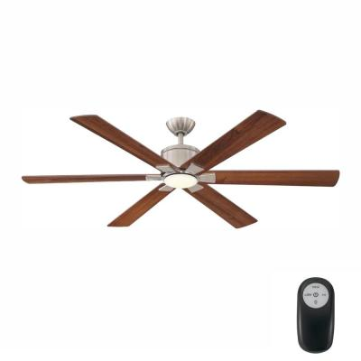 Renwick 60 in. Integrated LED Indoor Brushed Nickel Ceiling Fan with Light Kit and Remote Control