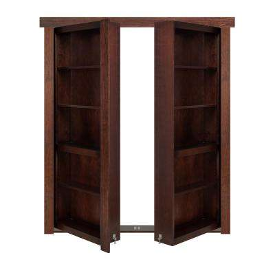 72 in. x 80 in. Flush Mount Assembled Cherry Dark Stained Out-Swing Solid Core Interior French Bookcase Door