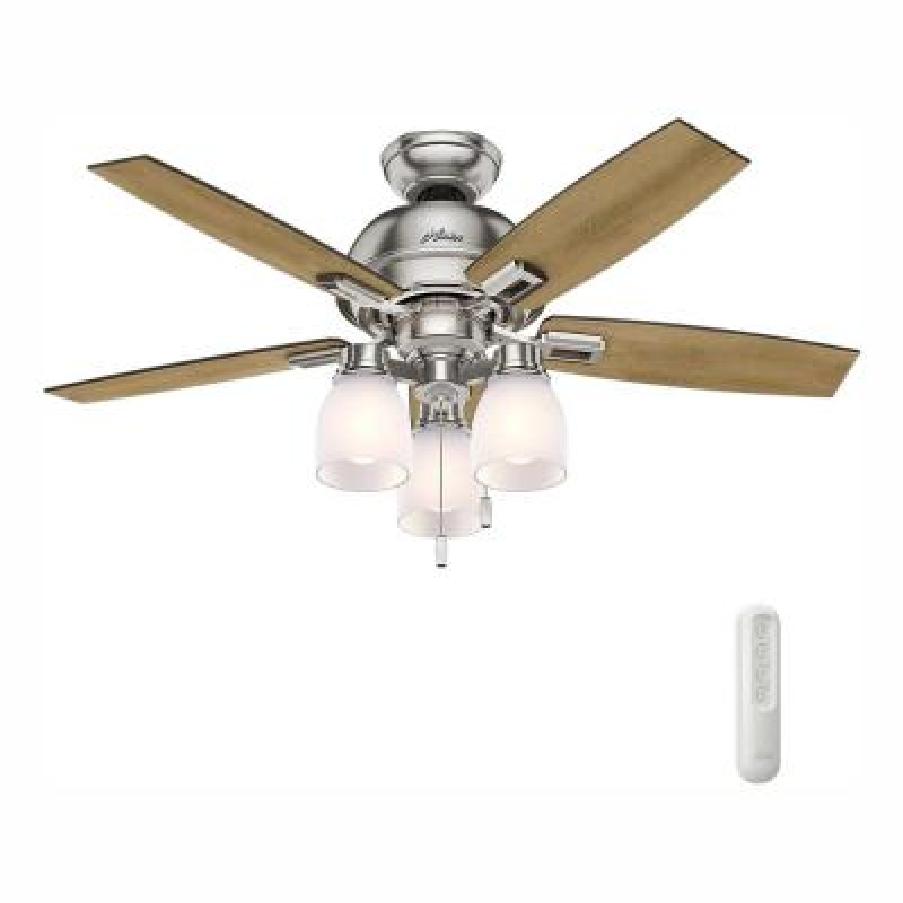 Donegan 44 in. LED 3-Light Indoor Brushed Nickel Ceiling Fan with bundled Handheld Remote Control