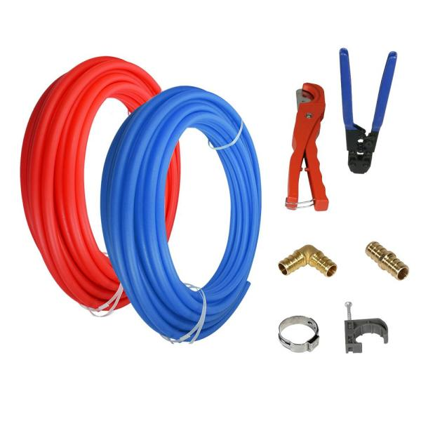 1/2 in. x 300 ft. PEX Tubing Plumbing Kit - Crimper and Cutter Tools Tubing Elbow Cinch Half Clamp - 1 Red 1 Blue