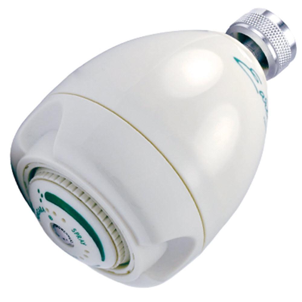 3-Spray 3 in. Earth Fixed Mount Showerhead in White