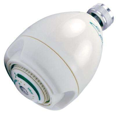 3-Spray 3 in. Earth Fixed Mount Showerhead in White