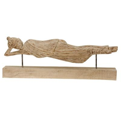 Reclining Woman Hand Carved Decorative Statue Natural