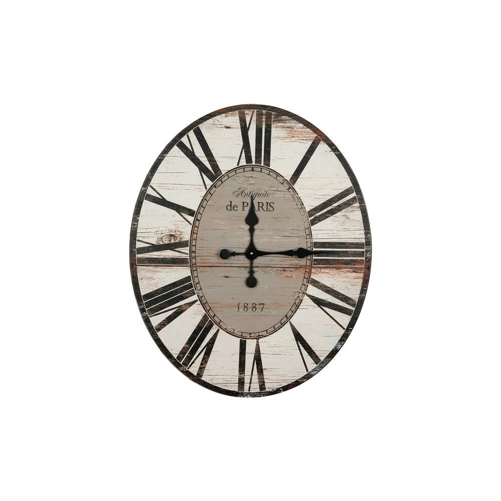 Distressed Grey Oval Wood Wall Clock