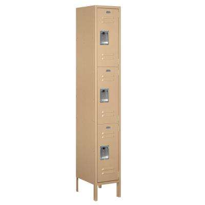 63000 Series 12 in. W x 78 in. H x 15 in. D - Triple Tier Metal Locker Assembled in Tan