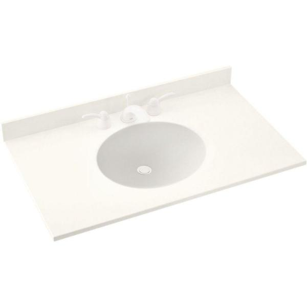 Ellipse 55 in. W x 22 in. D Solid Surface Vanity Top in Tahiti Ivory with Tahiti Ivory Basin