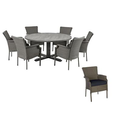 Grayson 7-Piece Ash Gray Wicker Outdoor Patio Dining Set with Standard Midnight Navy Blue Cushions