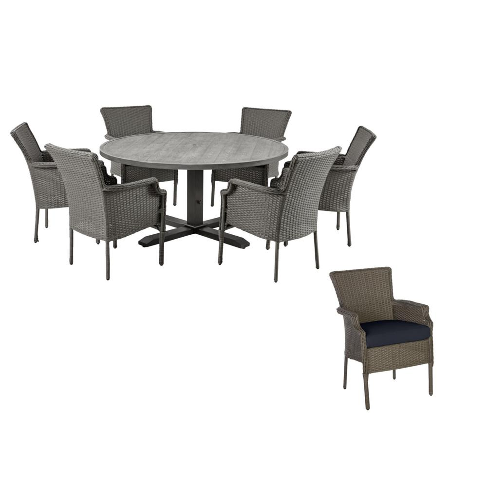 Hampton Bay Grayson 7-Piece Ash Gray Wicker Outdoor Patio Dining Set with Standard Midnight Navy Blue Cushions