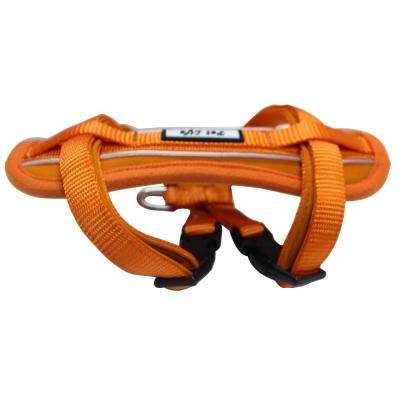 Large Orange Mountaineer Chest Compression Adjustable Reflective Easy Pull Dog Harness