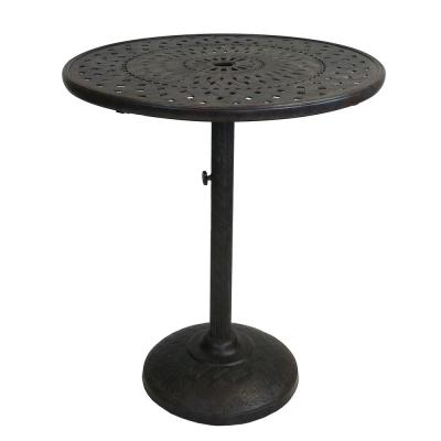 42 in. Ornate Brown and Black Round Cast Aluminum Outdoor Patio Bar Table