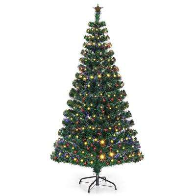 6 ft. Pre-Lit Artificial Christmas Tree Fiber Optic with 230 LED Lights and Top
