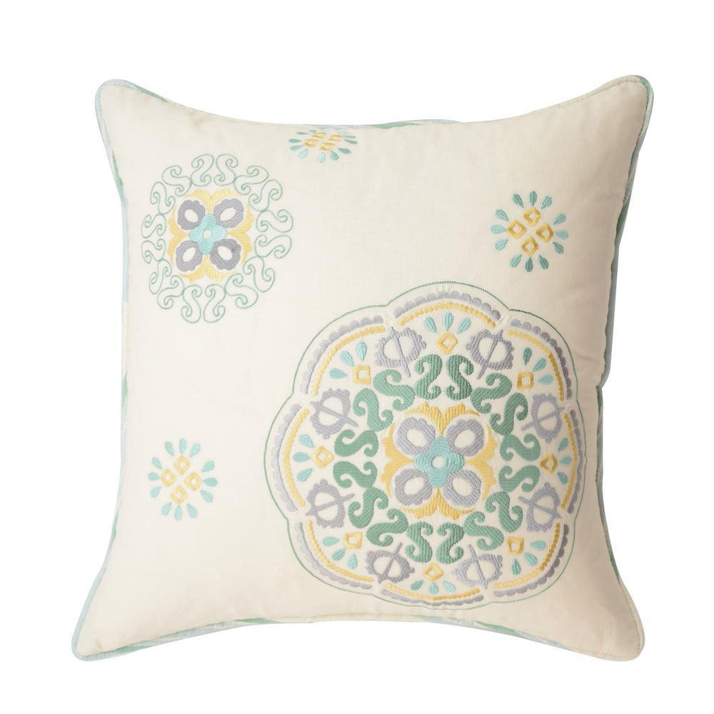 Astrid Cotton Square Mineral Button Embroidered Decorative Pillow