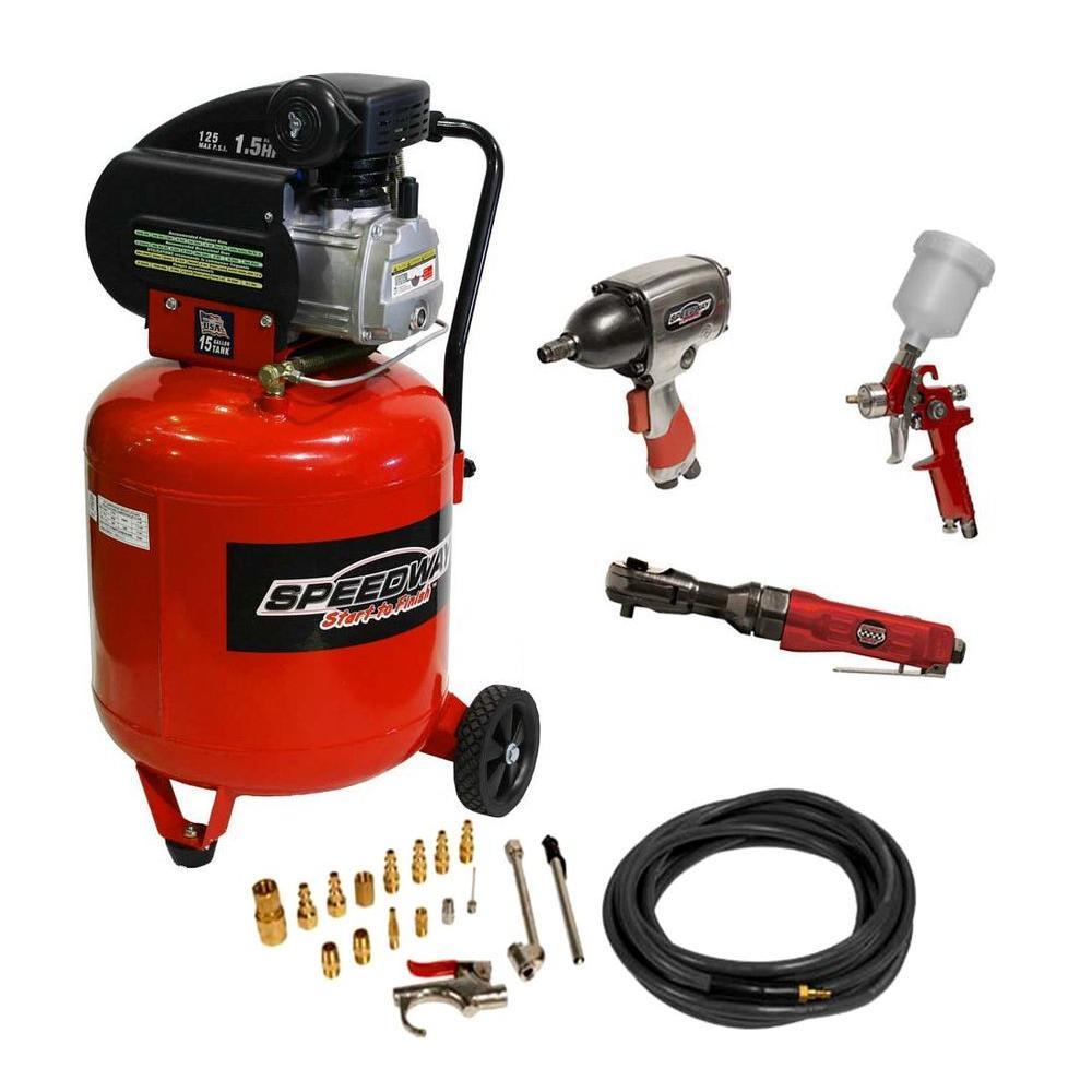 SPEEDWAY 15 gal. 125 psi 1.5 HP Air Compressor with Bonus Tool Set