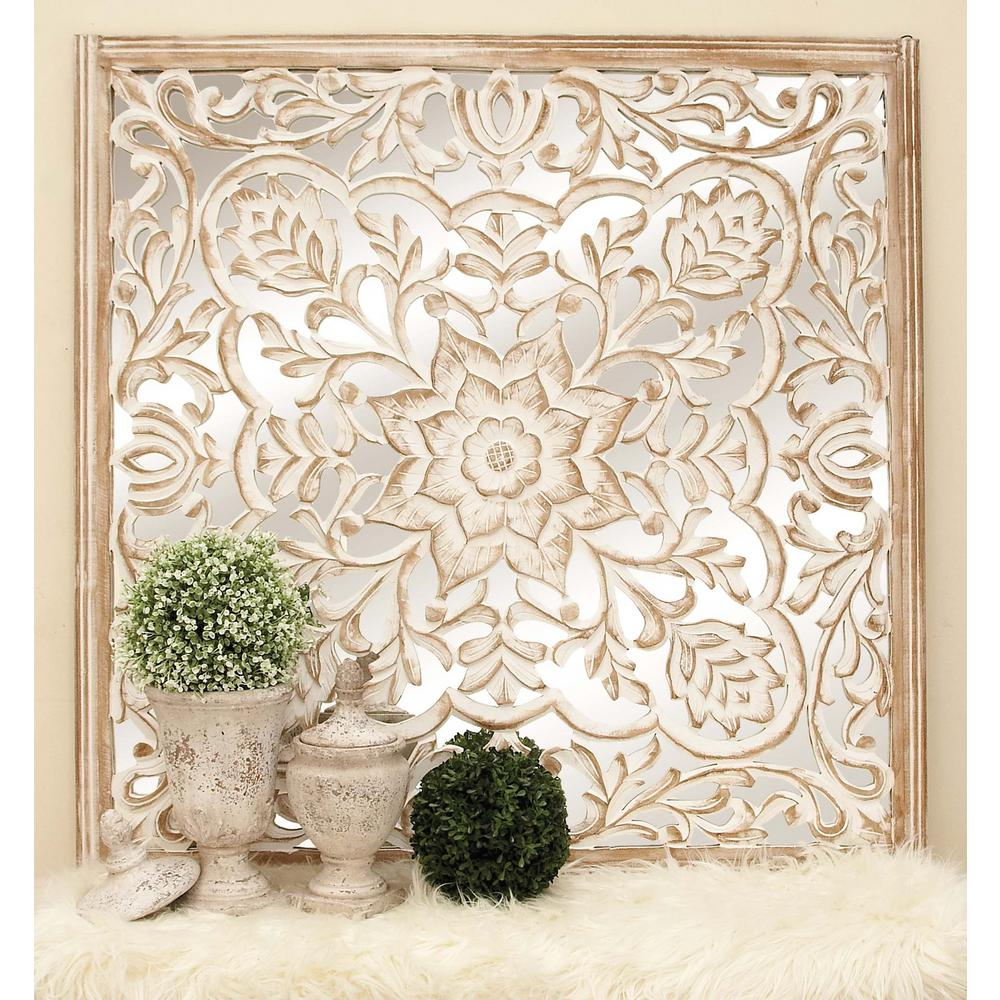 48 in. x 48 in. Rustic Decorative Lattice and Floral-Patterned ...