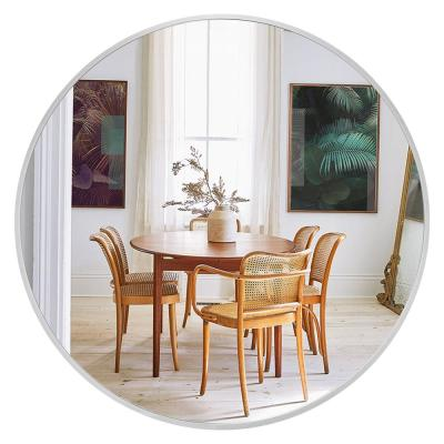 30 in. x 30 in. Modern Style Round Mirror Aluminum Alloy Framed Silver Shatter-Proof Accent Mirror Wall Mirror